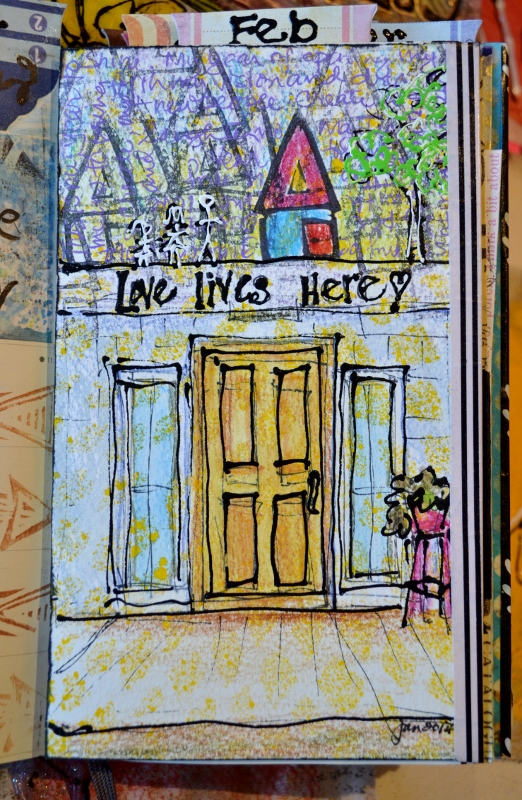 DLP week 1 - a drawing of our front door with text above it, used watercolourk, stamps and acrylic paint.
